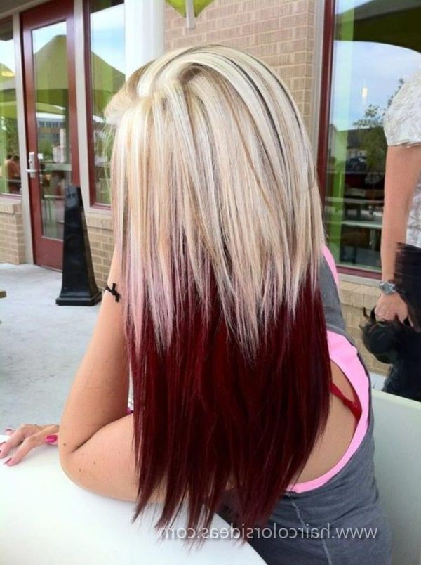 Black hair with red and blonde highlights underneath