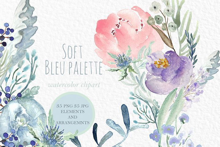 Soft Blue Peonies Watercolor Clipart Watercolor Flowers Blue