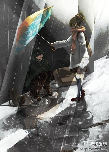 When you see someone in the dark rain, give him your umbrella and share with him your word..