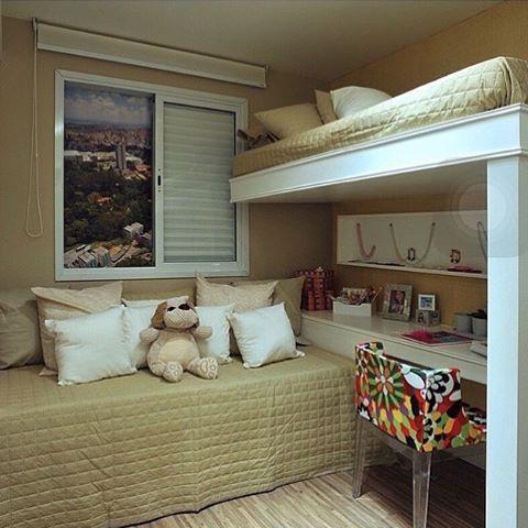Ideia para quarto pequeno com 2 camas...
