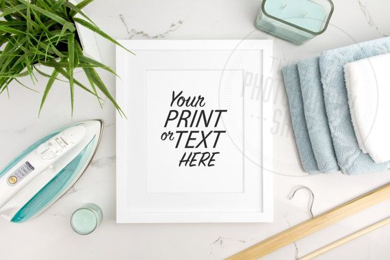Styled Stock Photography / Print Background / Blank Frame / Product Photography / Staged Photography / Blue Towels Iron / Laundry / LR010
