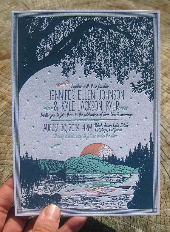 Mountain letterpress invitations