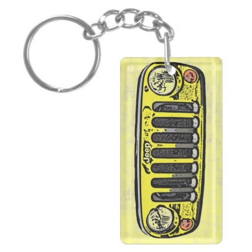 Yellow Jeep front keychain