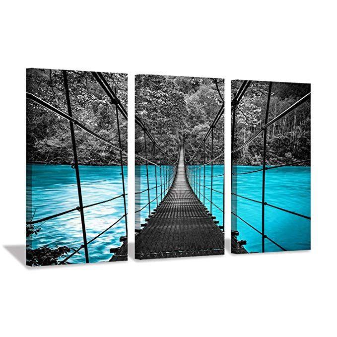 Amazon Com Ocean Pier Landscape Artwork Prints Black Suspension Metal Sea Bridge In Blue Coastline Beach Sun Canvas Pictures Landscape Wall Art Lake Artwork
