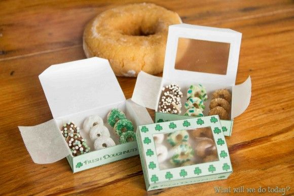 How to trap a Leprechaun.  Click on link for the instructions on how to make the trap and the mini donut boxes at the bottom (How to Make a Leprechaun Trap).