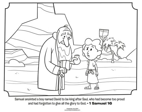 Kids coloring page from What's in the Bible? featuring Samuel anointing David from 1 Samuel 16. Volume 5: Israel Gets a King!