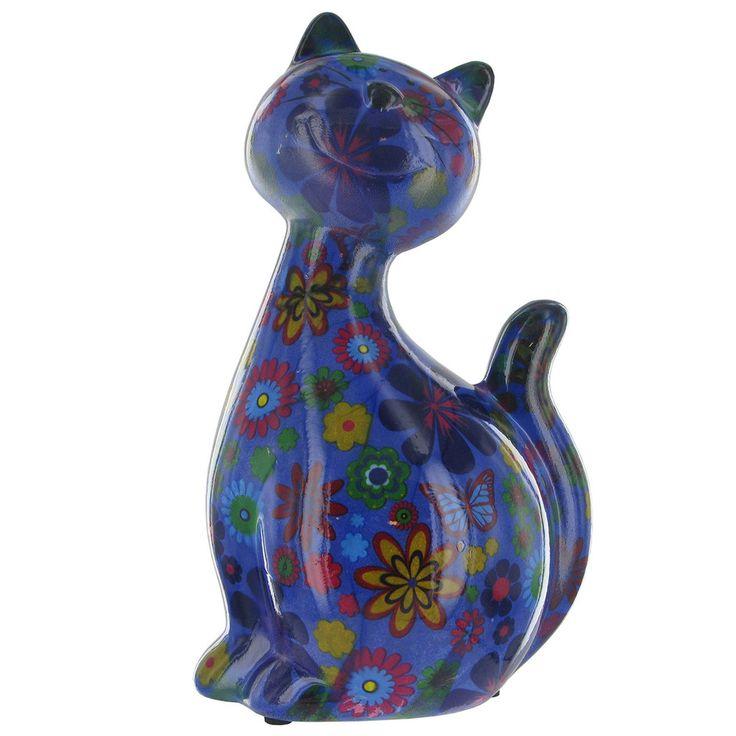 Pomme Pidou Caramel Cat Animal Money Bank - Blue