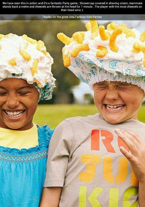 Fantastic party game! One person had a shower cap with whipped cream on their head, the other person has to throw Cheetos onto the whipped cream!