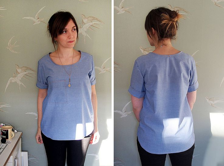 Grainline Scout tee, with added pocket, roll-back sleeves and longer dipped hem