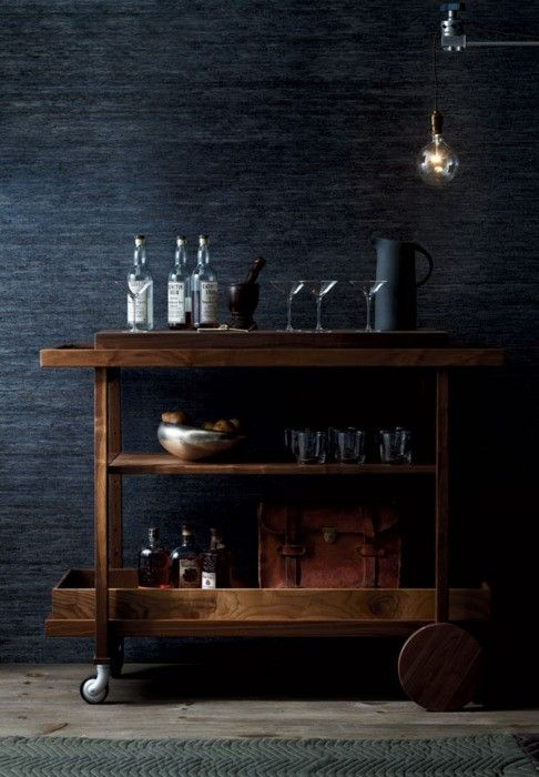 amazing seagrass wallpaper for this rustic bar cart