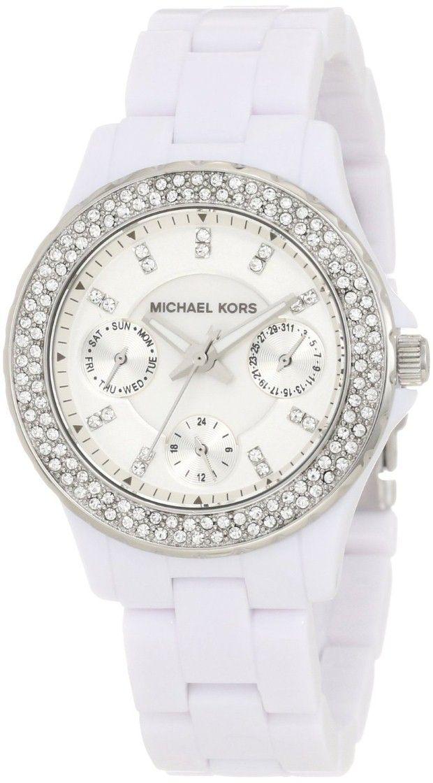 women watches Michael Kors Quartz Acrylic Mini Madison Glitz White Dial Women's Watch MK5458 White Watches for women