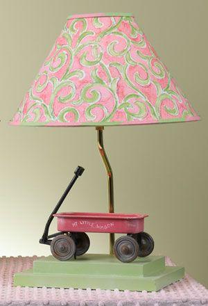 Girl's Pink & Green Wagon Lamp | Nursery Lighting | Kids Lamps | Yessica's Collection