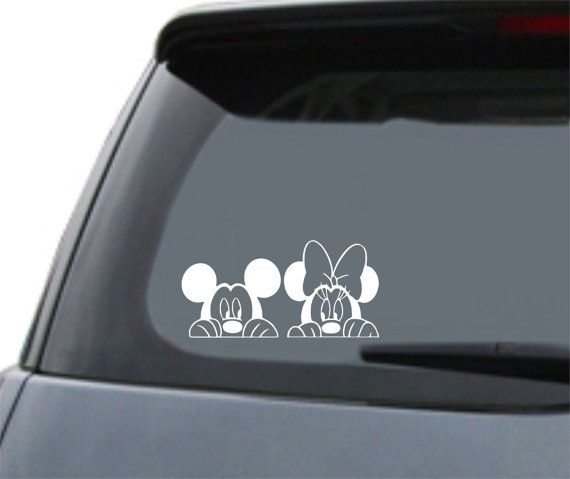 Mickey Amp Minnie Mouse Disney Quot Peeking Quot Vinyl Car Decal Vinilo Stick Pinterest