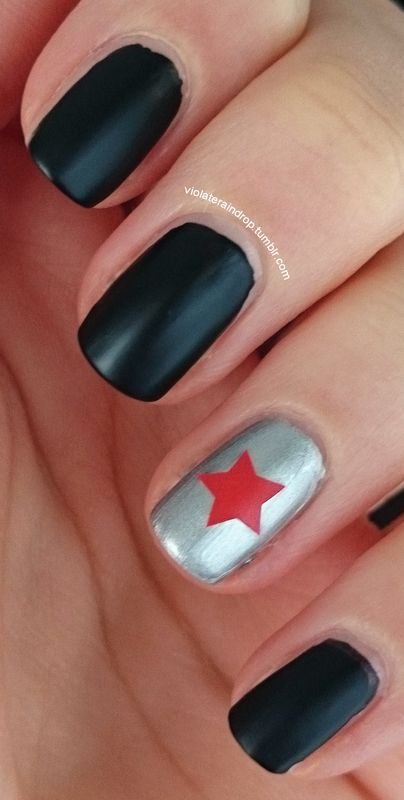 simple Captain America: The Winter Soldier manicure nail art by ...