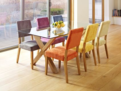 Lagoona Dining Table And 6 Jaz Fabric Chairs In A Range Of Colours Encapsulates The Perfect Casual Experience Mix Match