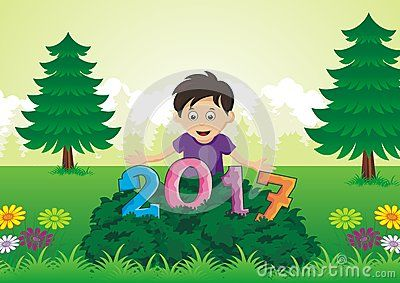 2017 Happy New Year - Kid found 2017 font on the grass with fine flower and scenery background