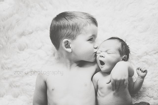 newborn baby and big brother picture on flokati rug in natural light by zoedennis, via Flickr