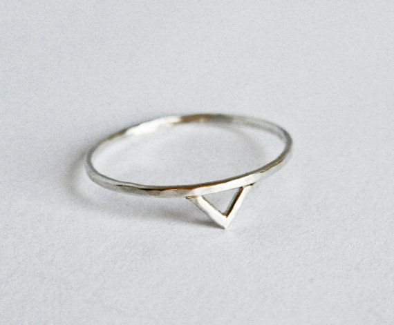 Silver Spike Ring, Chevron Ring, Triangle Ring, Hammered Ring, Sterling Silver, Thin ring, Simple Ring