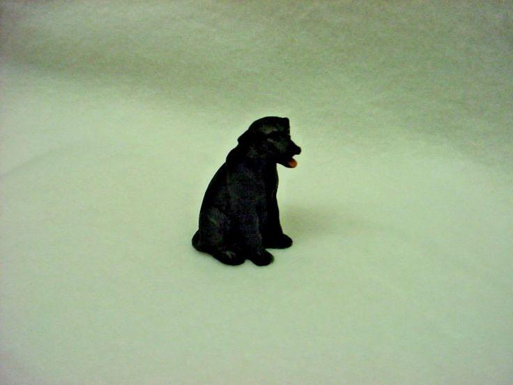 BLACK LAB puppy TiNY DOG Figurine HAND PAINTED MINIATURE Labrador Mini Statue