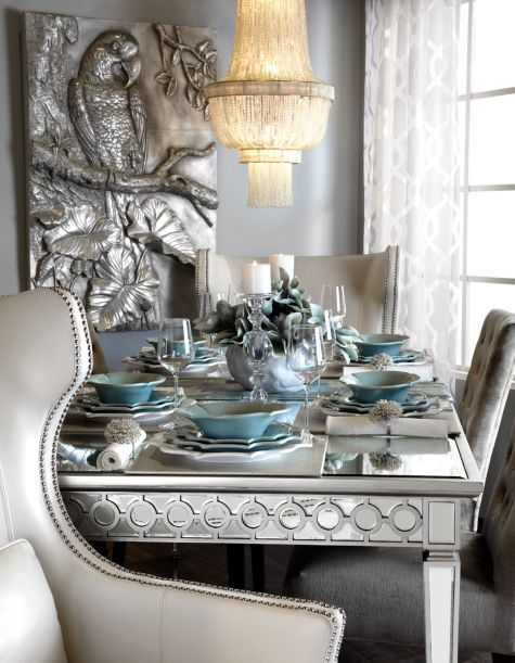 love the chairs Sophie Mirrored Dining Table from Z Gallerie | My ...
