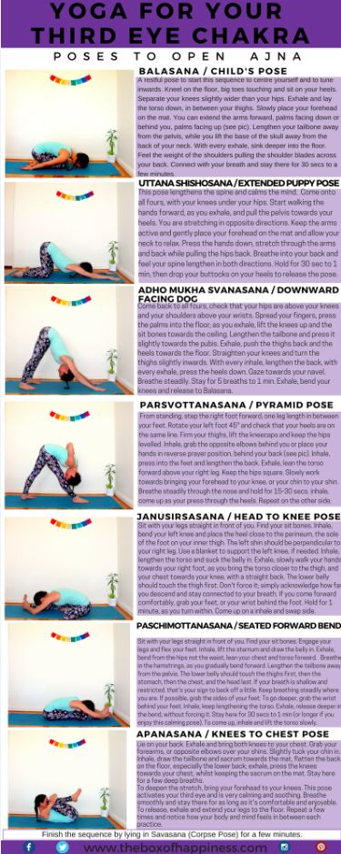 {NEW BLOG POST} Here it is!!! This is the 6th post in a series of yoga sequences for the chakras. They've been coming out weekly. Go to theboxofhappiness.com to catch up on the lower chakras. You will find in this post several yoga postures, a meditation, affirmations, journaling prompts (and more!) to activate your THIRD EYE CHAKRA. Prepare to develop your perception of subtle things and tap into your intuition and psychic abilities! I hope you enjoy it! Feel free to comment here or on the…