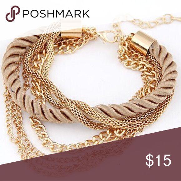 🌹🆕 SRUNNING GOLD ROPE AND CHAINS BRACELET 🌹 🌹🆕 STUNNING GOLD ROPE AND CHAINS ONE PIECE BRACELET 🌹 Jewelry Bracelets