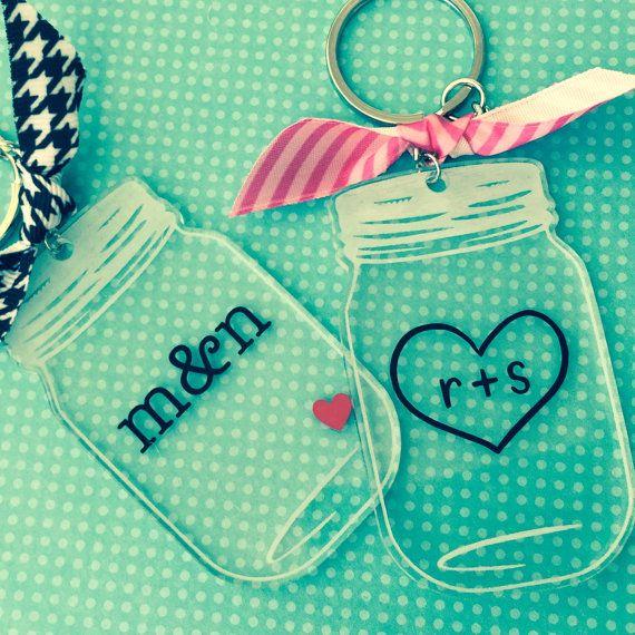 Engagement Wedding Personalized Mason Jar Keychain Custom Key Chain Gift