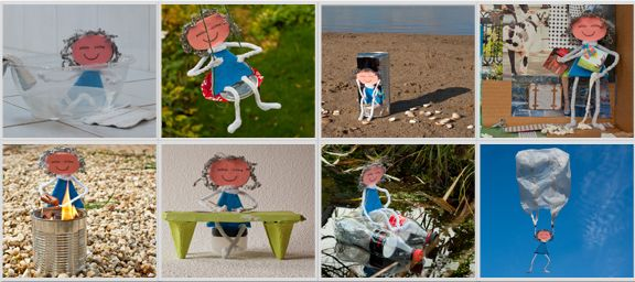 De serie 'Luni speelt met afval' als ansichtkaart nu te koop! Bestellen via http://www.lifeofluni.com/webshop.html