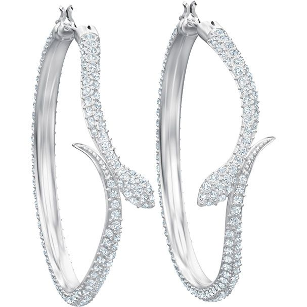 ab569de16 Leslie Pierced Earrings, White, Rhodium plating exclusively on Swarovski.com