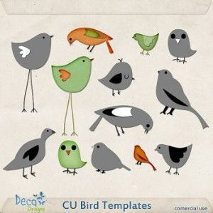 CU Bird Templates by Deca Designs. Think I'll appliqué the one with long legs on the wallet I make.