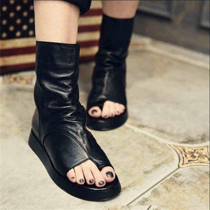 Купить товар2016 оригинальный дизайн из натуральной кожи женская обувь ручной толстые каблуки сандалии рим стиль пип схождение сапоги в категории Сандалиина AliExpress.