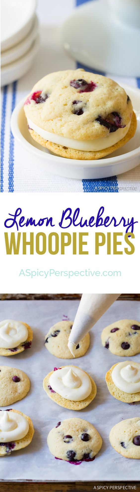 Soft and sumptuous Lemon Blueberry Whoopie Pie Recipe with tangy lemon filling. Lovely for any Spring celebration.