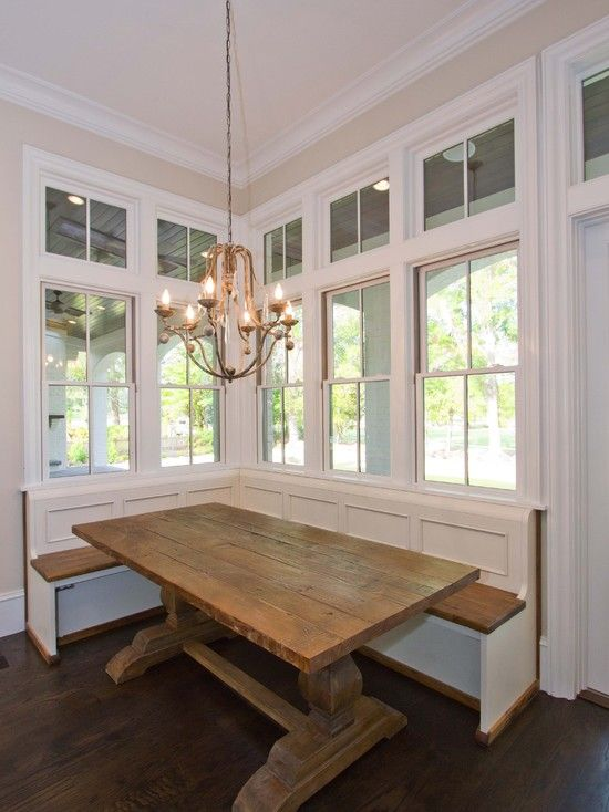 Banquette, love the Farmhouse/Harvest trestle kitchen table.