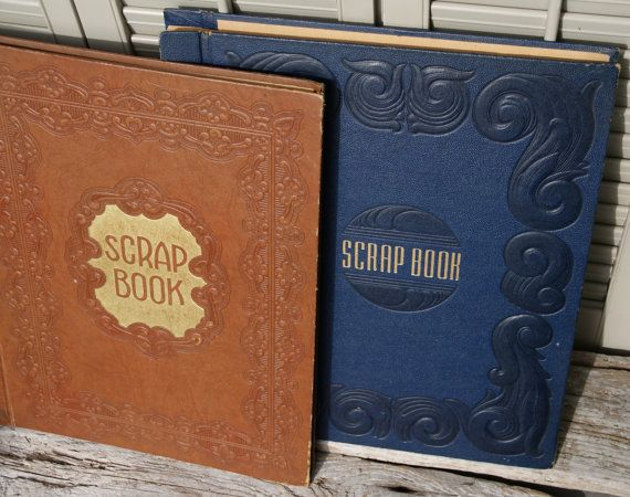 Vintage Scrapbook/Photo Albums Navy and Brown by BeachLaneVintage, $18.00