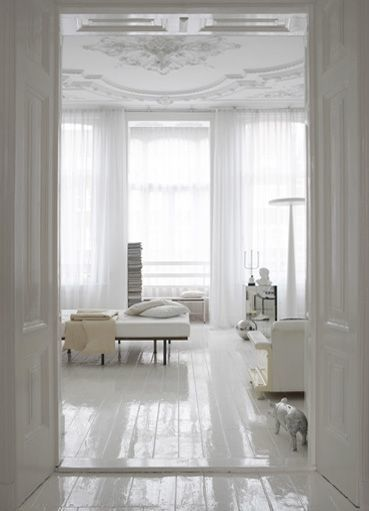 LOVE the high gloss painted white wood floor!!!!