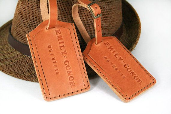 Leather Luggage Tag Monogram Luggage Tag by SimpleFraction on Etsy, $24.99