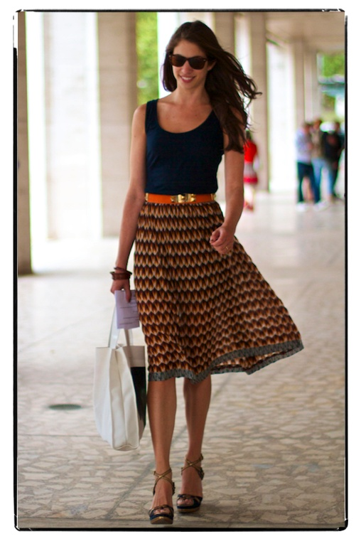 Love this!  Skirt is a great length and pairs well with simple top.  I like the idea of replacing vest tops with a silk version!