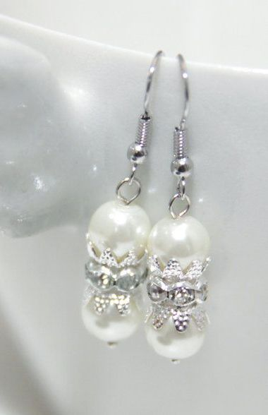 Swarovski Pearl Sparkle Rhinestone Earrings Beads Beads
