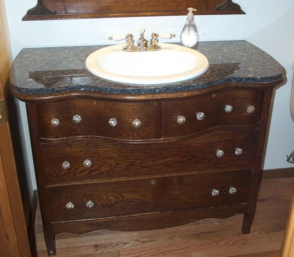 9 best images about house plans 1st floor half bath on - Bathroom vanities made from old dressers ...