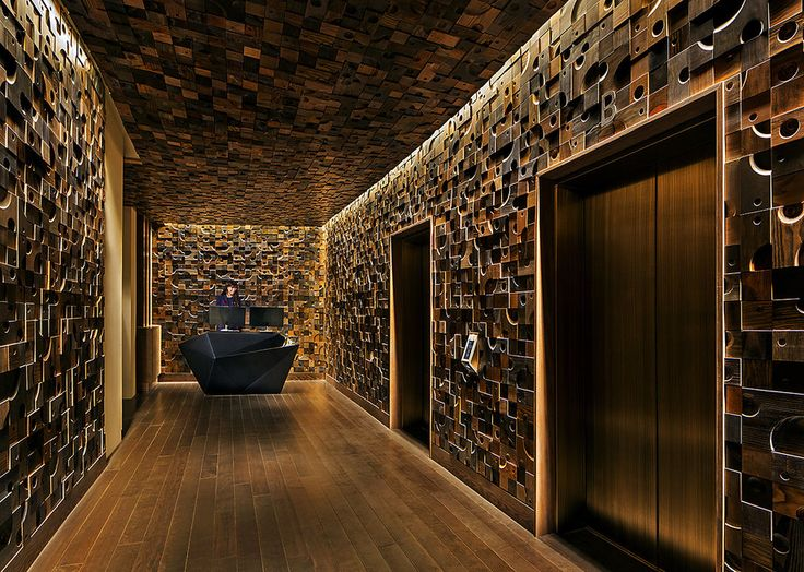 Nobu hotel wall in Vegas. Reclaimed lumber wall #wool #timber - Images About Feature On Pinterest Beijing, Leather Wall