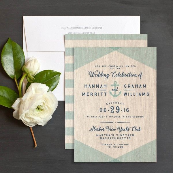 Vintage Nautical Wedding Invitations by Jennie Hake | Elli