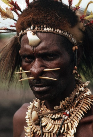 Portrait of Asmat Warrior  Wearing ornaments that in the past were used during war, an Asmat warrior now proudly displays these objects as symbols of strength | © Lindsay Hebberd/Corbis