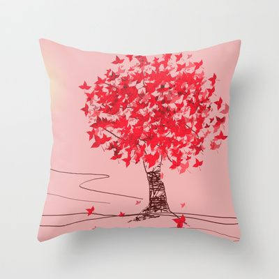 Cherry Tree Throw Pillow by andréart - $20.00