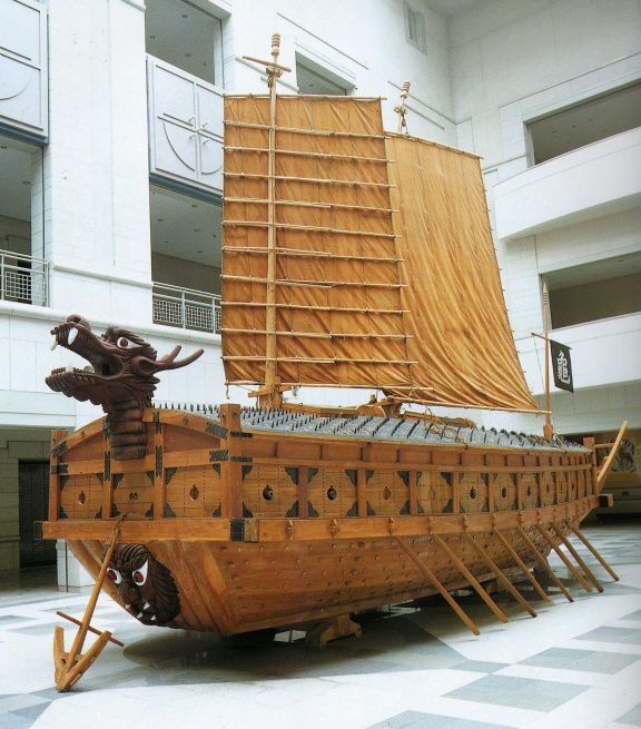 The Turtle Ship on display in Korean Museum. One of Admiral Yi's greatest achievement was his development of the Turtle Ship.