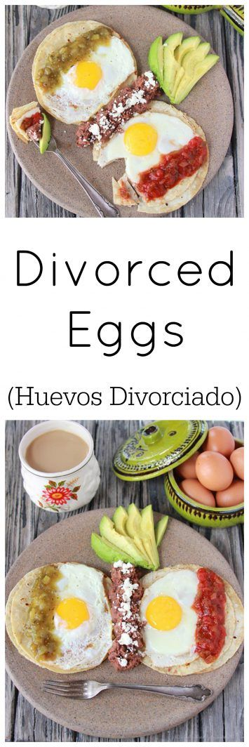 Divorced Eggs on www.cookingwithru... are a traditional Mexican breakfast with over easy eggs and salsa done two ways