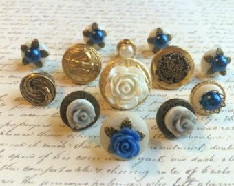 Vintage Style Push Pins - Push Pins - Decorative Push Pin - Button Push Pins - Flower Push Pins - Office - Wedding - Vintage Buttons