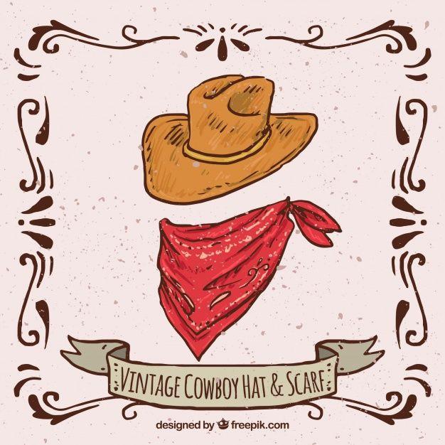 Vintage Cowboy Hat And Scarf Western Wall Art Print Collage Cowboy Art
