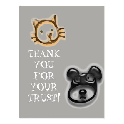 Animal Clinic Vet Thank You Business Trust Cat Dog Postcard - postcard post card postcards unique diy cyo customize personalize