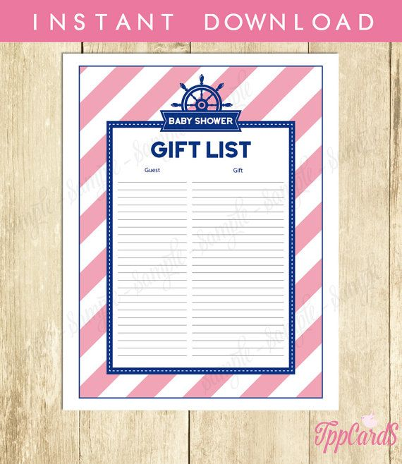 Nautical Baby Shower Gift List Sailor Baby Shower List Baby Shower Sign in Sheet Baby Shower Registry in Navy and Pink 0003A TppCards by TppCardS #tppcards #printable #invitations
