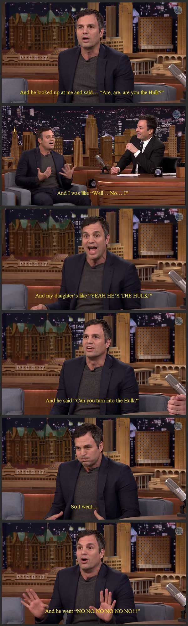 """Mark Ruffalo on going to his daughter's preschool"" — This reminds me of a story my mom told me about someone in her Girl Scout troop met her dad and asked, wide-eyed, ""Are...aren't you Jimmy Stewart?!"" :o)"